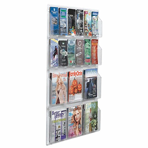 """TableTop King LRC110 30"""" x 45"""" Clear-Vu Combination Pamphlet and Magazine Display with 12 Pamphlet Pockets and 6 Magazine Pockets"""