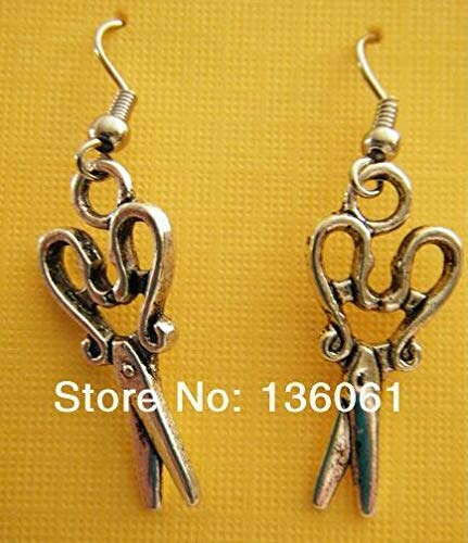 Scissors Dog Musical Note Angel Wings Reindeer Bird Acorn Drop Dangle Earrings Vintage Silver for Women (Scissors) ()