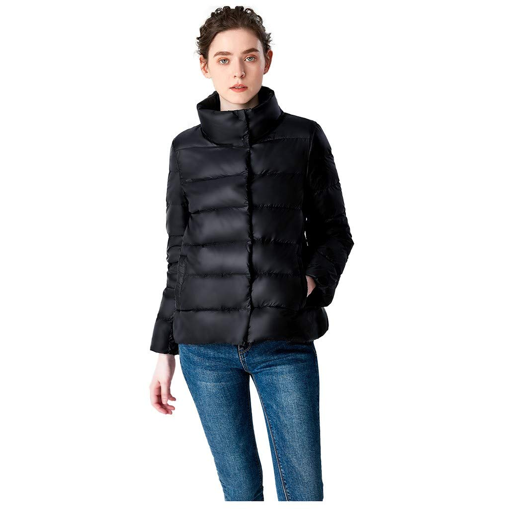 TIFENNY Women's Down Jacket Winter Coats Casual Stand Neck Light Coat Solid Color Short Button Pocket Down Jackets Black by TIFENNY