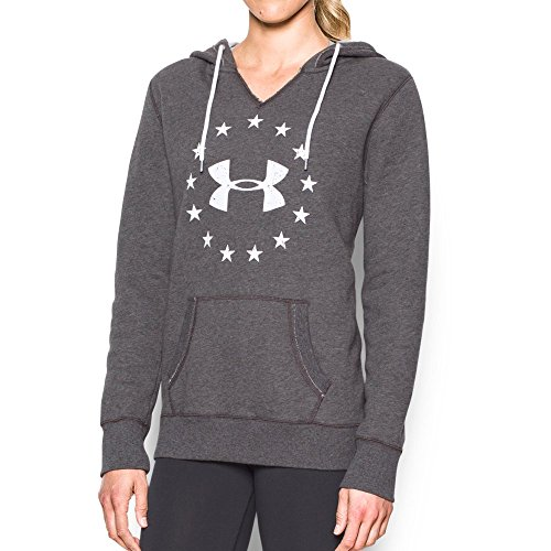 Under Armour Women's Freedom Logo Favorite Fleece Hoodie, Carbon Heather/White, Small