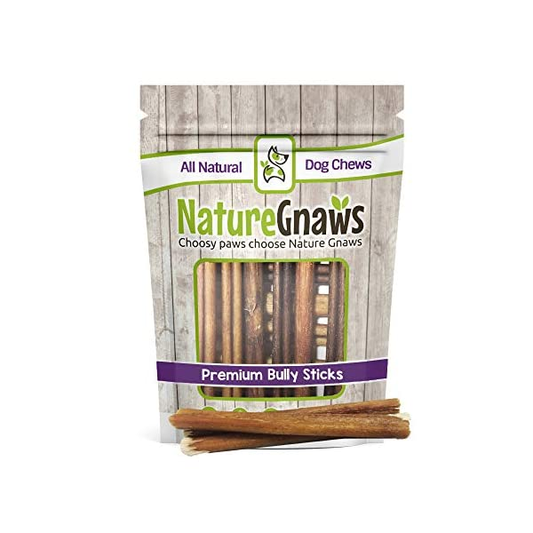 Nature Gnaws Small Bully Sticks - 100% Natural Grass-Fed Free-Range Premium Beef Dog Chews - Single Ingredient & Long Lasting Chew Treats for Dogs 1