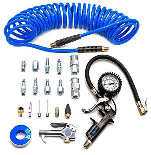 YOTOO Heavy Duty Air Compressor Accessories Kit 20 Pieces with 1/4 inch x 25 feet Polyurethane Air Compressor Hose, 100…