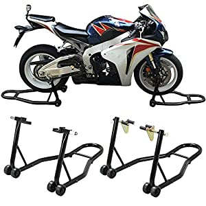 go2buy 1 Pair Universal Motorcycle Wheels/Tire Paddock Stands Front and Rear Chock Swingarm Lift Kit