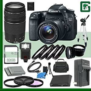 Canon EOS 70D Digital SLR Camera Kit with 18-55mm IS STM Lens and Canon EF 75-300mm III Lens + 32GB Green's Camera Package