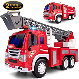 Gizmovine 2 PCs Fire Truck Toy Friction Power with Lights and Sounds, Extending Rescue Rotating Ladder Pull Back Construction Toys Vehicles for Toddlers Boys 4, 3, 2 Year Old, 1:16 Scale
