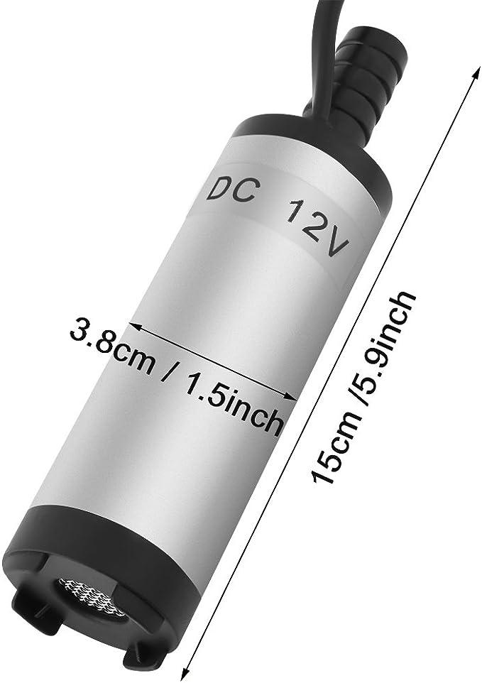 Walfront 12V Mini Pompe Submersible Electrique Transfert deau//Diesel//K/éros/ène Siphon Diam/ètre 3.8cm pour Moto Automobile Voiture