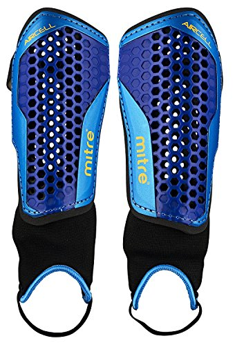 Mitre Aircell Carbon Slip Shin Guards - Blue/Cyan/Yellow, Small by Mitre