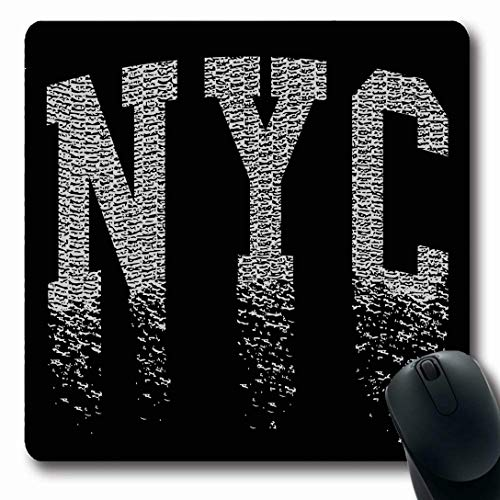 Ahawoso Mousepads for Computers Best Label New York City Graphics Sports Black Recreation Vintage Stamp Varsity Denim NYC Design Oblong Shape 7.9 x 9.5 Inches Non-Slip Oblong Gaming Mouse Pad