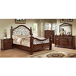 Landaluce transitional style antique dark oak finish eastern king size 6 piece for 6 piece king size bedroom sets
