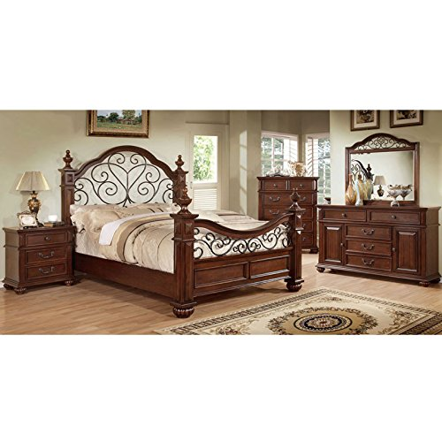 247SHOPATHOME IDF-7811EK-6PC Bedroom-Furniture-Sets, King, Oak (Table Iron Round 42 Wrought)