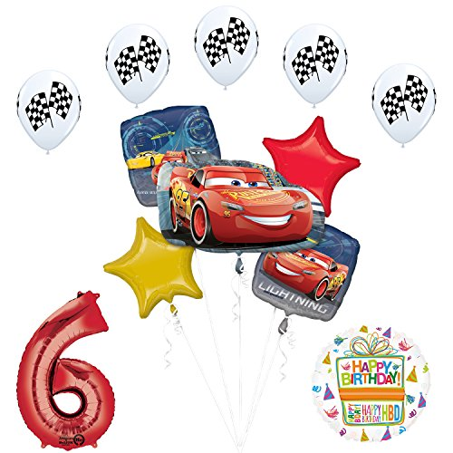 Mayflower Products Disney Cars 3 Lightning McQueen 6th Birthday Party Supplies and Balloon -