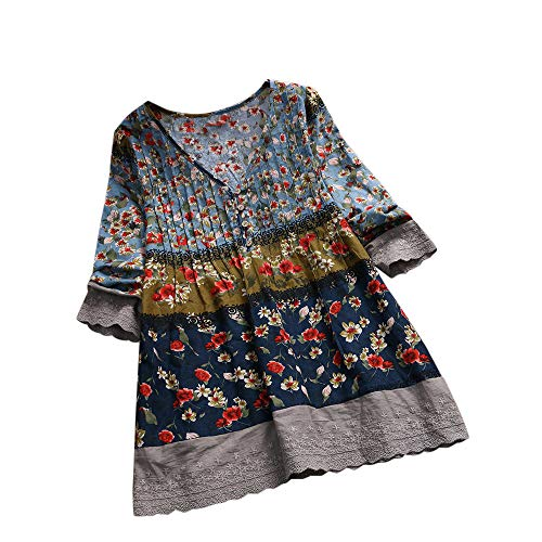TOTOD Women Tops! Plus Size Womens Vintage Floral Print Patchwork 3/4 Sleeve Long Sleeves Blouses Top Shirt Navy