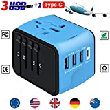 Travel Adapter, YooGoal Universal Travel Adapter Quick USB Charger with 1 Type C and 3 USB Ports International World Power Plug Adapter Kit Charger USB Plug with UK, EU, AU, CN,US for 200 Countries