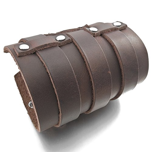 INBLUE Men's Alloy Genuine Leather Bracelet Bangle Cuff Silver Tone Brown Black Adjustable by INBLUE (Image #2)