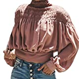 the office merchandise clothing - iQKA Women Vintage Ruffle Turtleneck Blouse Long Sleeve Shirt Loose Peplum Crop Top(Pink ,Large)