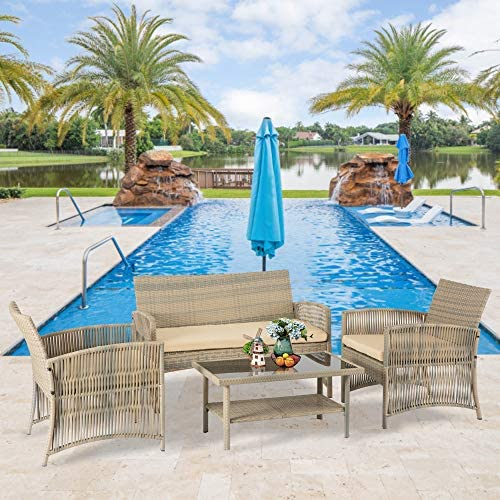 Aoxun 4 Piece Patio Conversation Set Wicker Patio Furniture
