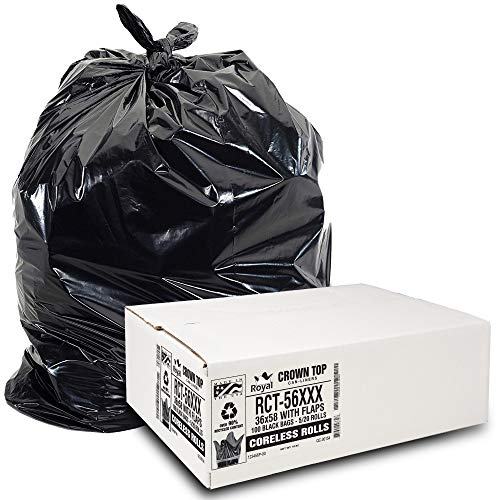 Heavy Duty 55 Gallon Trash Bags - (Huge 100 Pack/w Flap Ties) - 2.0 MIL (Equivalent) 43