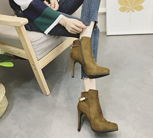 KHSKX-The Green Metal Decoration Boots Winter New Tip Satin The Waterproof One Side Zipper Detail And High Heels 38 Mvs6fwYE1