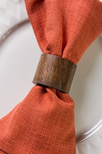 DII Rustic Chic Napkin Rings for Dinner Parties, Weddings Receptions, Family Gatherings, or Everyday Use, Set Your Table With Style - Wood Band, Set of 6 by DII (Image #4)