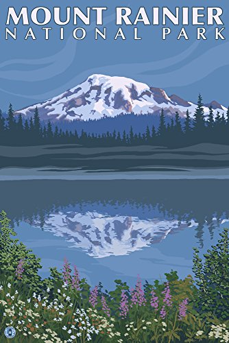 Mount Rainier, Washington - Reflection Lake (9x12 Art Print, Wall Decor Travel Poster) from Lantern Press