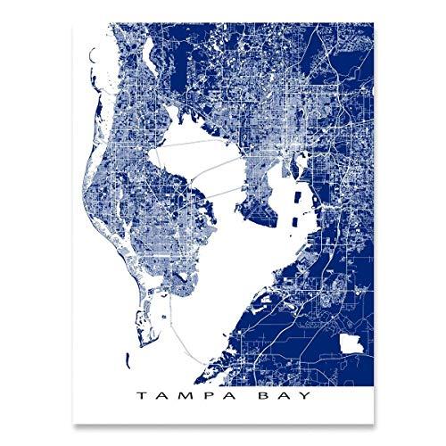 Bay Digital Map - Tampa Bay Map Art Print, Florida, FL, St Petersburg, Clearwater