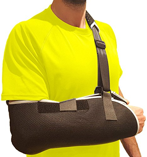 (Arm Sling Shoulder Immobilizer Brace - Shoulder Sling Arm Brace with Thumb Support to Stabilize Broken Arm, Rotator Cuff, AC Joint, Carpal Tunnel Wrist Pain, Elbow Tendonitis, Hand & Forearm Sling)