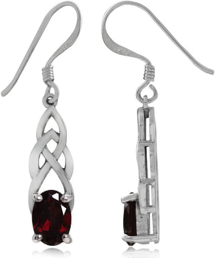 Celtic Sterling Silver and Garnet Oval Drop Earrings