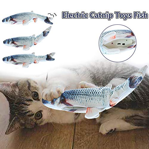 HLovebuy Catnip Fish Toys, Realistic Plush Simulation Electric Doll Fish,Cat Wagging Fish Realistic Plush Toy, Simulation Catnip Soft Interactive Chewing Toy for Cat/Kitty/Kitten 2