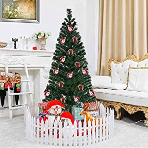 Toolsempire Artificial Fiber Optic 3/4/5/6 Ft White Christmas Tree Spruce Tree with Stand Perfect for Indoor Holiday Decoration 29