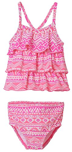 BeautyIn Baby Girls Swimwear Halter Two Piece Suit Cute Ruffle Bathing Suit, Pink, 3T