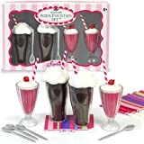 18 Inch Doll Play Set of 12 Pc. Soda Fountain Accessory Set, 2 Root Beer Ice Cream Floats, 2 Strawberry Smoothies, 4 Spoons & 4 Napkins Perfect for American Girl Doll Food & More! Sophia's Doll Items
