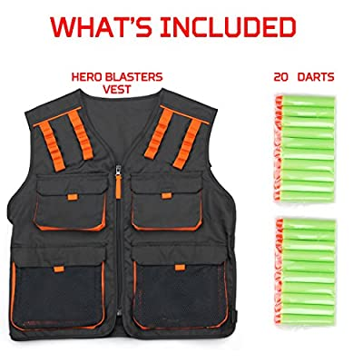 Kids Tactical Vest for Nerf N-strike Elite, Mega & Rival Balls +20 Darts Boys Army Vest Ages 8+