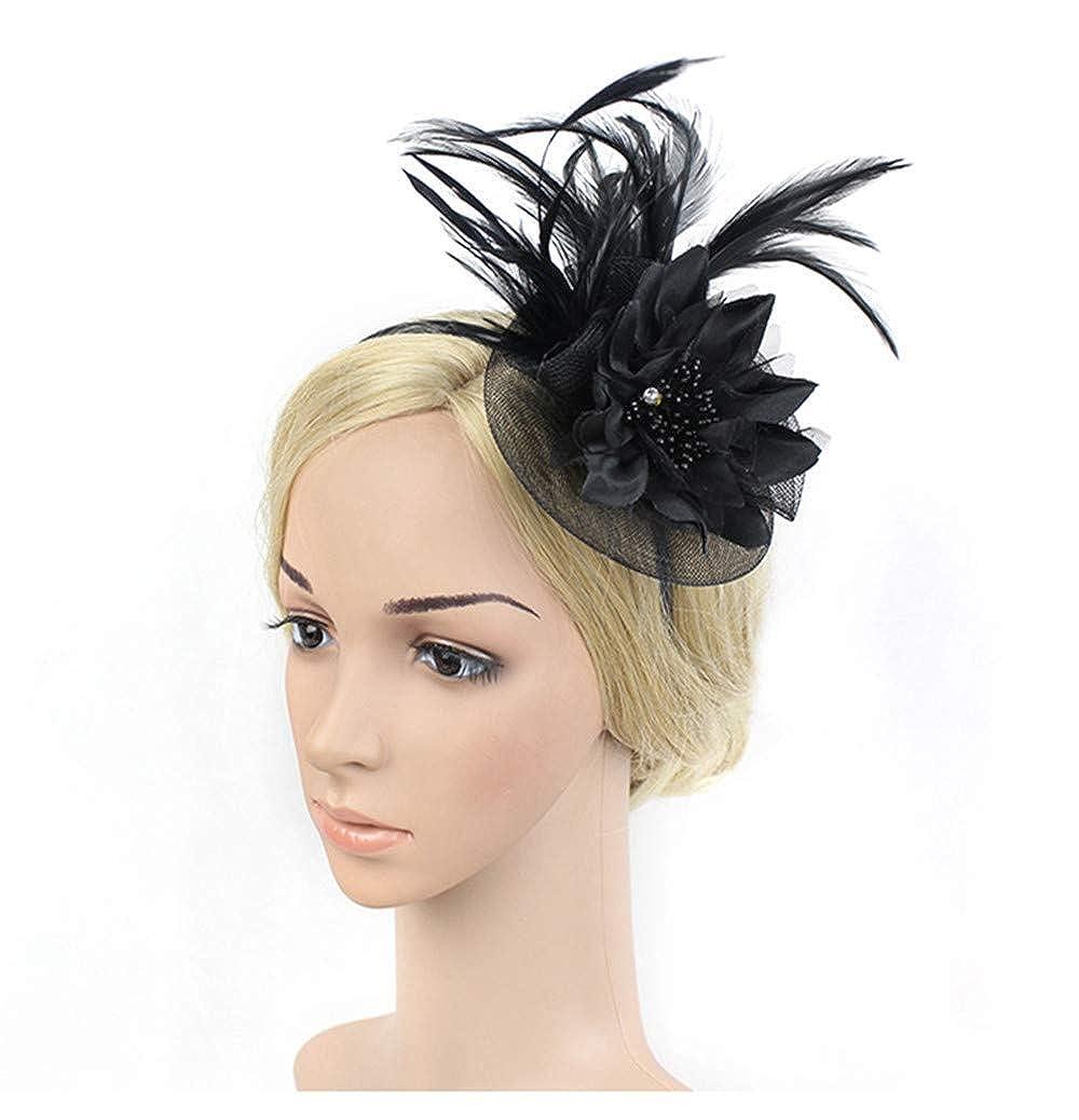 online outlet sale UKYLIN Women Fascinator Feather Hat Tea Party Headwear Cocktail Hat Charming