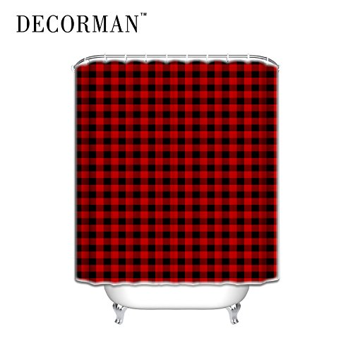 Prime Leader Custom Shower Curtains Rustic Red Black Buffalo Check Plaid Pattern Shower Curtain,Tartan,36