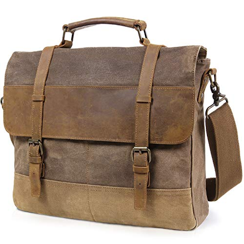 2c5a55d2330d Lifewit Mens Messenger Bag 15.6 Inch Waterproof Vintage Waxed Canvas  Genuine Leather Laptop Bag Computer Shoulder