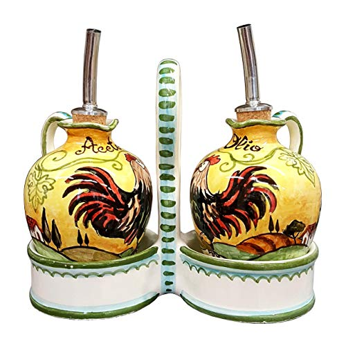 CERAMICHE D'ARTE PARRINI - Italian Ceramic Set Cruet Oil Vinegar Art Pottery Hand Painted Decorated Rooster Made in ITALY Tuscan