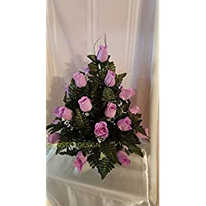 Lavender Silk Flowers Cemetery Arrangement With 3 Inch Standard Cone base 22