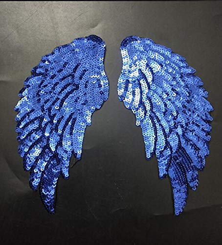 1 Pair Fashion Blue Angel Wings Sequins Patches for Clothing Iron-on Embroidered Patch Motif Applique DIY Garment Accessories for $<!--$7.99-->