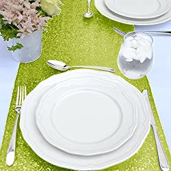 ShinyBeauty Sequin Wedding Table Runner 13 by 90-Inch Lime Green, Party Decoration Sparkly Linen Sequin Overlay Perfect for the Head Table