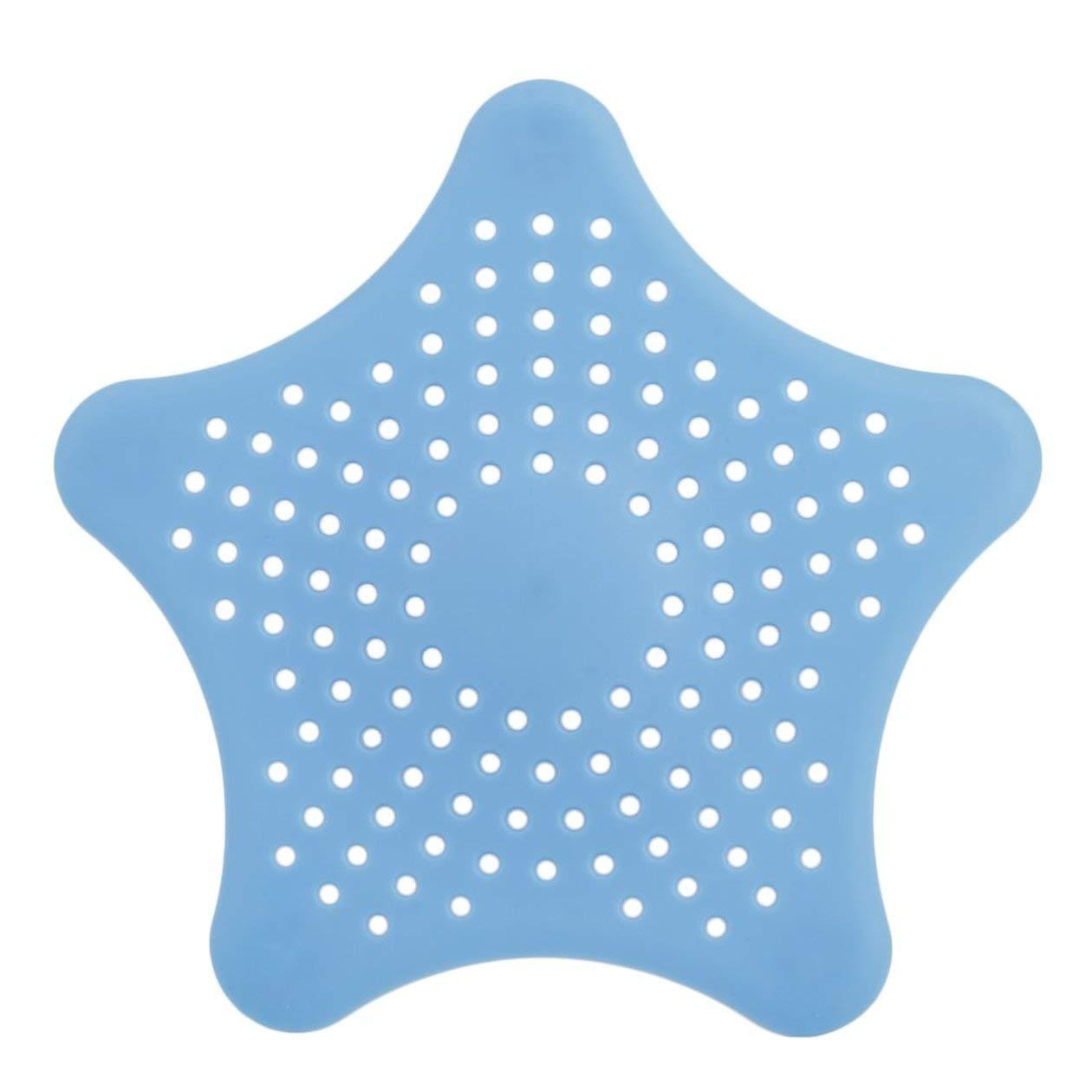 BIYI Forma de estrella Pl/ástico Cocina Menta Plan Ba/ño Ducha Cubierta de desag/üe Fregadero de desechos Colador Filtro de cabello Colector Gadgets de la casa Cesta Azul