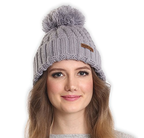 Brook + Bay Women's Pom Pom Beanie - Thick, Soft & Warm Cable Knit Beanie Hats for Winter - Serious Beanies for Serious Style (with 7+ Colors)