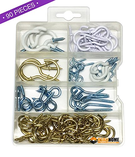 Premium Quality Handy Hook and Eyes Assortment Kit, 90 Pieces, Includes Cup Hooks, Eyes, Vinyl Hooks, Screw-in Hooks and more