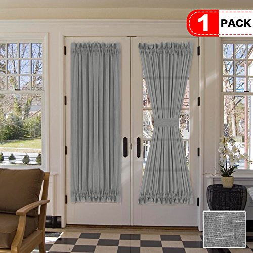 H.VERSAILTEX Functional Rod Pocket Home Decorative Linen Sheer Door Panel, Airy and Breathable Natural Linen Blended Curtain Panel for French Door, Set of 1, 52 x 72 - Inch - -