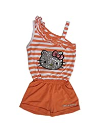 Hello Kitty Little Girls Orange White Stripe Glittery Applique Romper 5