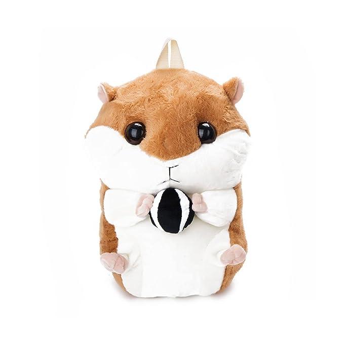 bb72910861 Women s Girls 3D Pom Pom Plush Stuffed Cute Hamsters Bunny Hare Doll  Knapsack Zipper Closure Backpack
