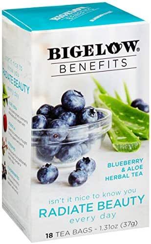 Bigelow Benefits Radiate Beauty Blueberry and Aloe Herbal Tea Box of 18 Teabags (Pack of 6) Caffeine-Free Individual Herbal Tisane Bags, for Hot Tea or Iced Tea, Plain or Sweetened with Honey or Sugar