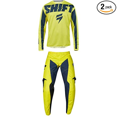 Shift MX 2019 White Label Muse Motocross Off-Road Dirt Bike Riding Gear Combo Mens Smoke Grey /& Black Jersey Large//34W Pant