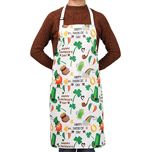 - Sevenstars Lucky Shamrock and Green Beer Hat Kitchen Aprons for St Patrick's Day, Waterproof Cooking Aprons, Adjustable Baking Aprons for Couple Women