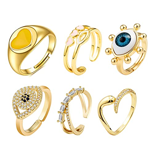 SUNNYGO 14K Gold Plated Cubic Zirconia Trendy Open Rings Set for Woman Girls Adjustable Stackable Rings (Style 2)