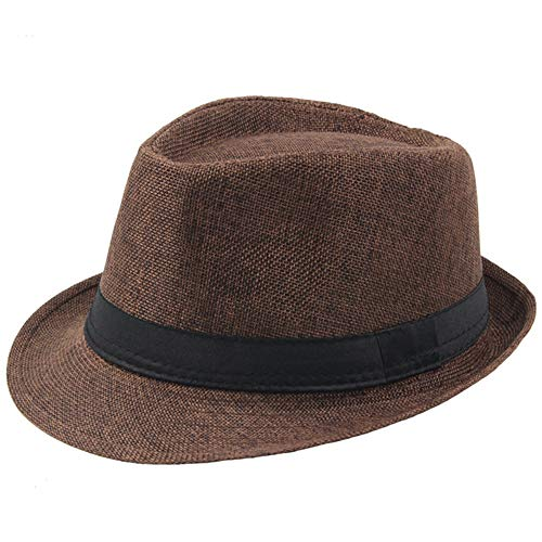 BABEYOND 1920s Panama Fedora Hat Cap for Men Gatsby Hat for Men 1920s Mens Gatsby Costume Accessories (Brown)]()